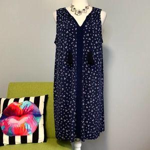 Michael Kors Blue Floral Tassel Shift Dress
